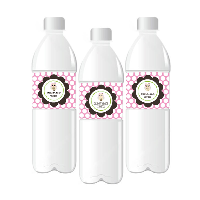 Pink Owl Personalized Water Bottle Labels wedding favors