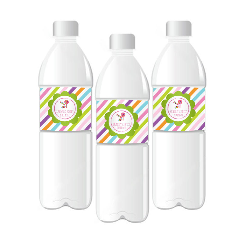 Sweet Shoppe Party Personalized Water Bottle Labels wedding favors