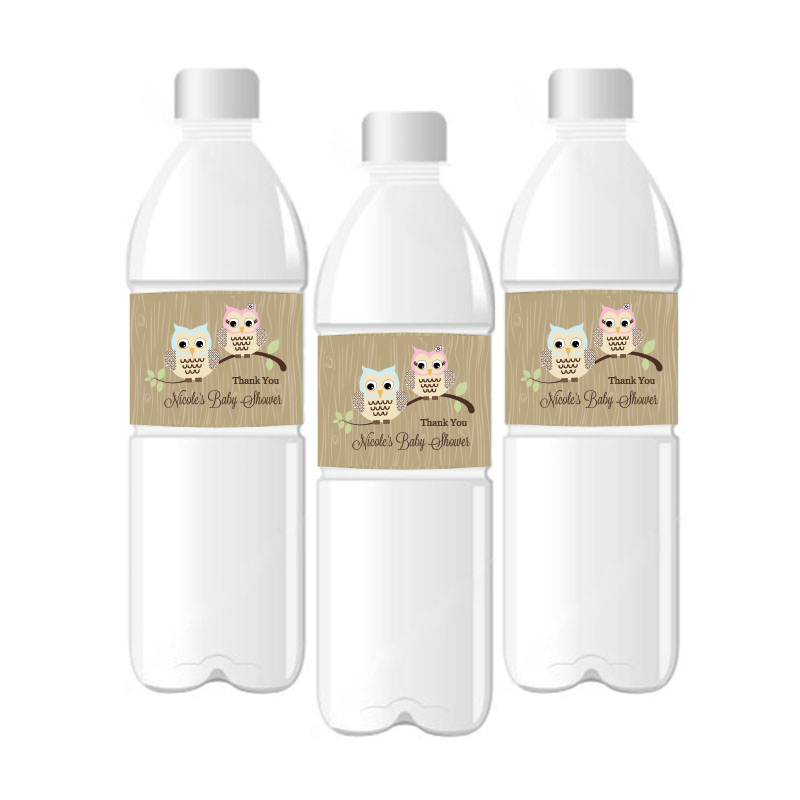 Woodland Owl Personalized Water Bottle Labels wedding favors