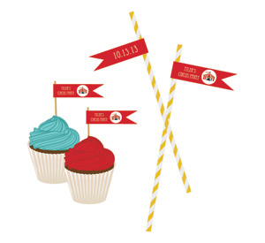 Circus Carnival Party Personalized Flag Labels wedding favors