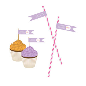 Going to Pop - Pink Personalized Flag Labels wedding favors