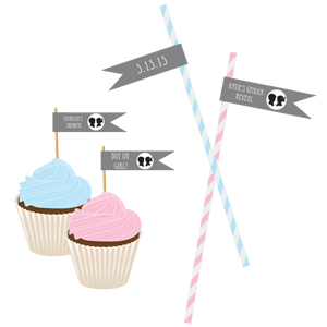 Gender Reveal Party Personalized Flag Labels wedding favors