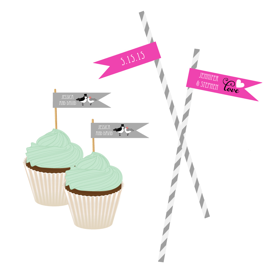 Personalized Theme Flag Labels wedding favors