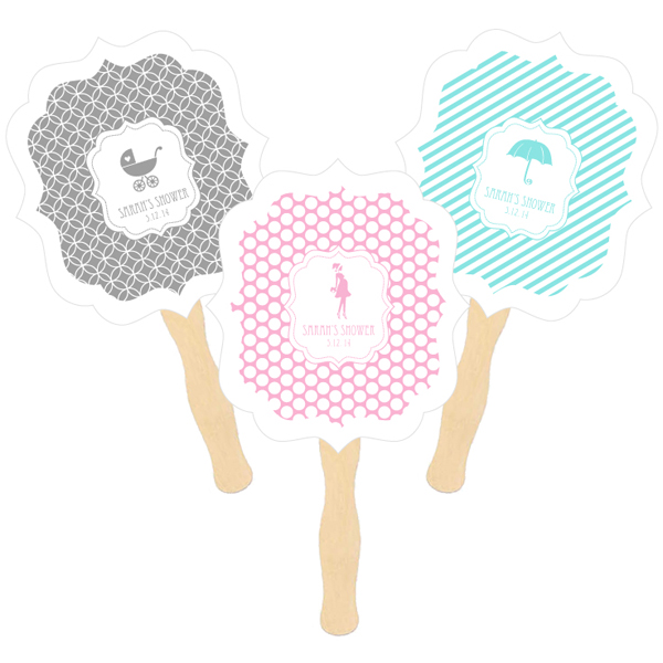 Personalized Paddle Fans - MOD Pattern Baby cheap favors