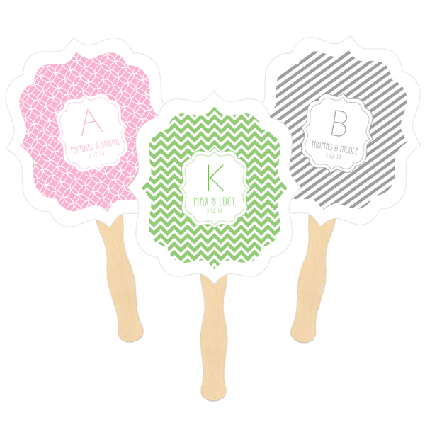 Personalized Paddle Fans - MOD Pattern Monogram wedding favors