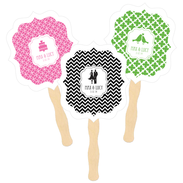 Personalized Paddle Fans - MOD Pattern Theme wedding favors