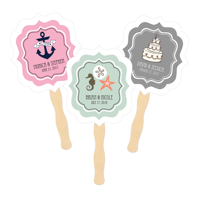 Personalized Paddle Fans - Theme  cheap favors