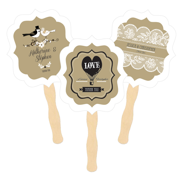 Personalized Paddle Fans - Vintage Wedding cheap favors