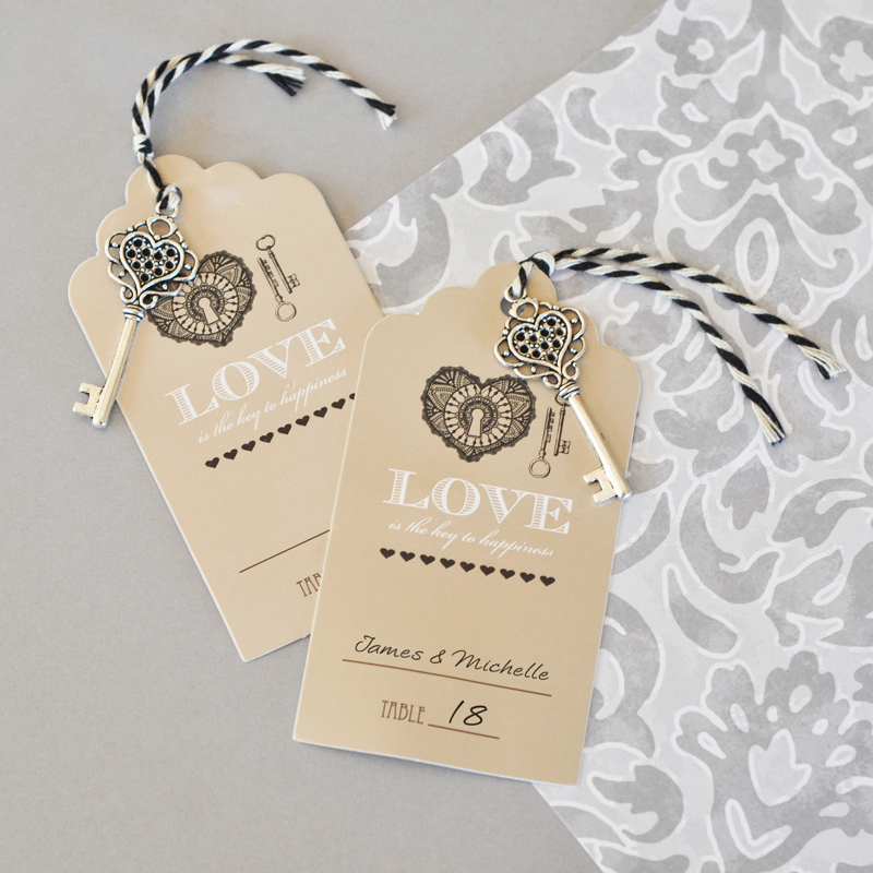 """Key to Happiness"" Escort Cards cheap favors"