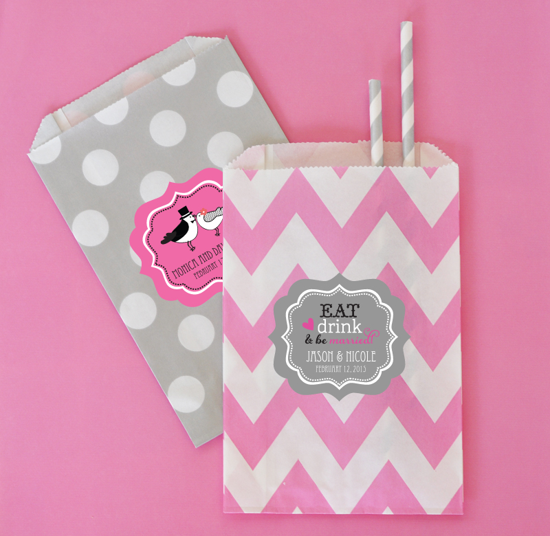 Personalized Theme Chevron & Dots Goodie Bags (set of 12)  cheap favors