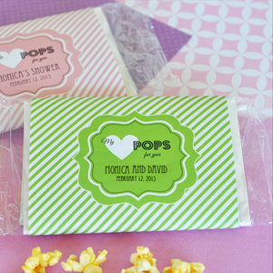 """My Heart POPS for You"" Microwave Popcorn Bags wedding favors"