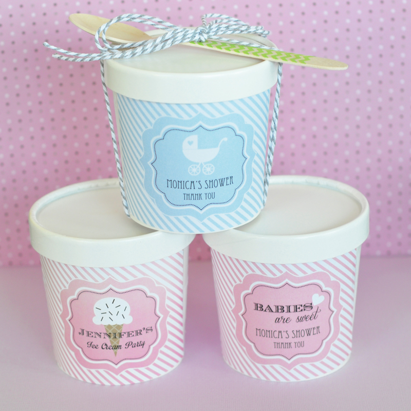 """Babies are Sweet"" Mini Ice Cream Containers wedding favors"