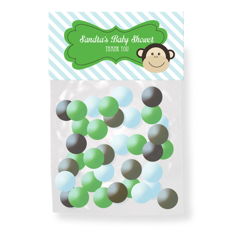Blue Monkey Party Personalized Candy Bag Toppers wedding favors