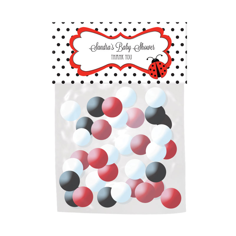 Ladybug Personalized Candy Bag Toppers wedding favors