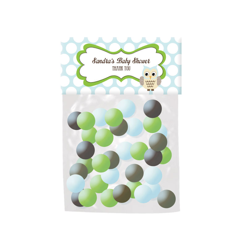 Blue Owl Personalized Candy Bag Toppers wedding favors