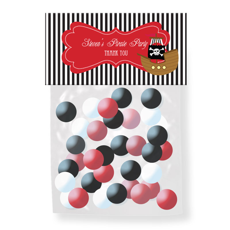 Pirate Party Personalized Candy Bag Toppers wedding favors