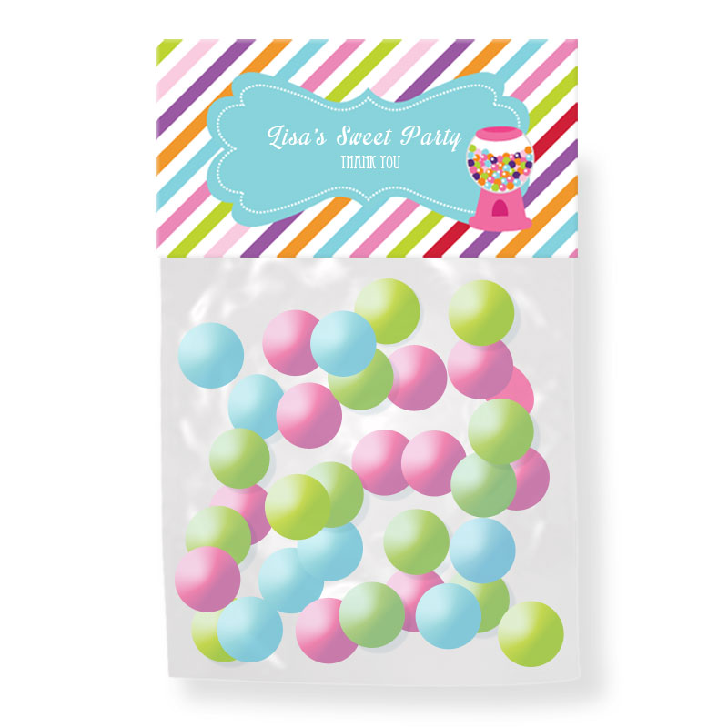 Sweet Shoppe Party Personalized Candy Bag Toppers wedding favors