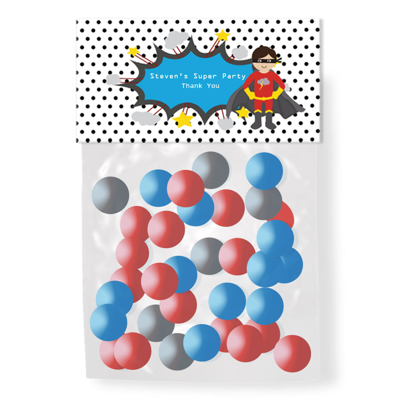 Super Hero Boy Birthday Personalized Candy Bag Toppers wedding favors