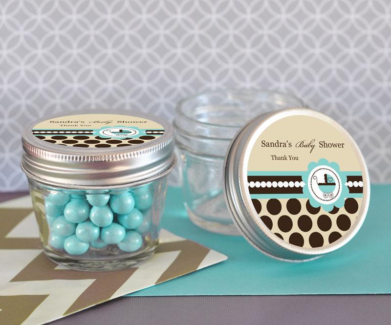 Blue Baby Shower Small 4 Oz Mason Jars