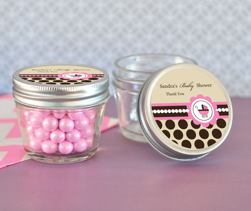 pink baby shower small 4 oz mason jars wedding favors