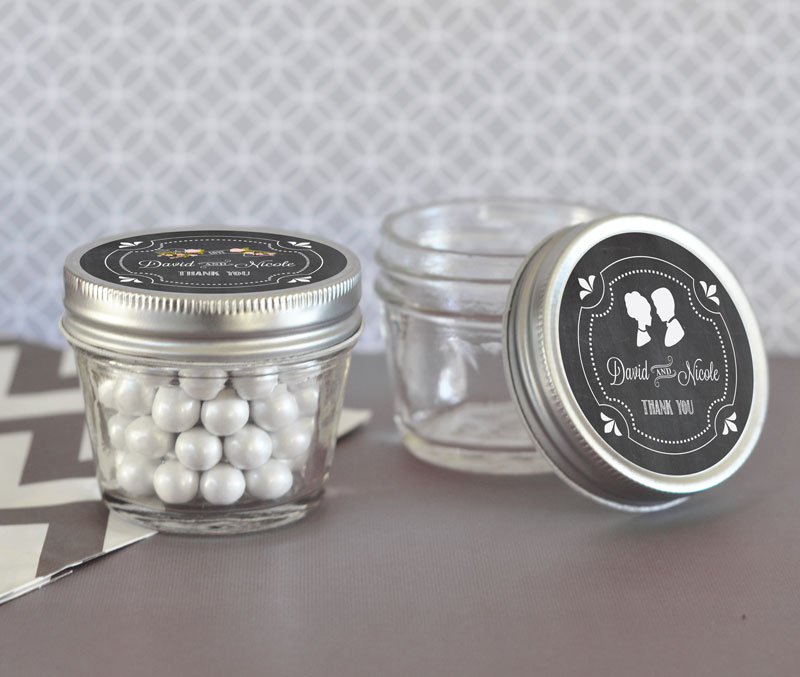 Chalkboard Wedding Personalized Small 4 oz Mason Jars cheap favors