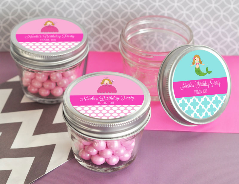 Personalized MOD Kid's Birthday Small 4 oz Mason Jars wedding favors