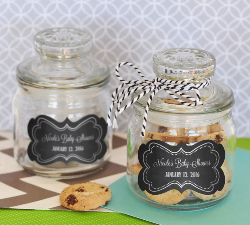 Chalkboard Baby Shower Personalized Mini Cookie Jars  cheap favors