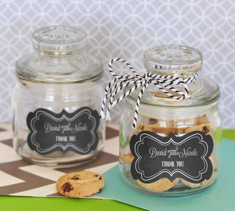 Chalkboard Wedding Personalized Mini Cookie Jars  cheap favors