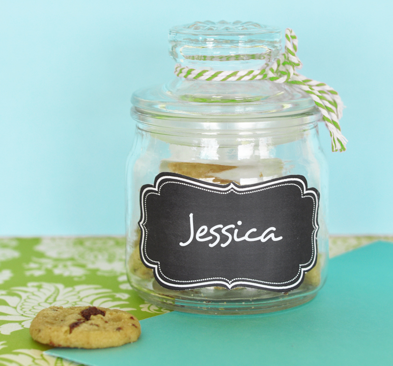 Mini Cookie Jars with Vinyl Chalkboard Labels  cheap favors