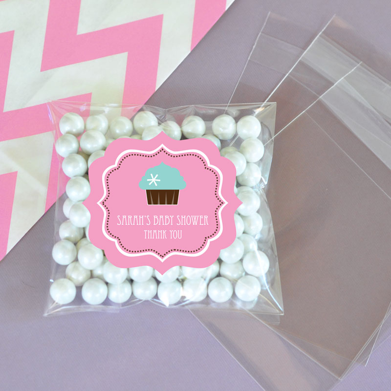 Personalized Cupcake Party Clear Candy Bags (Set of 24) wedding favors