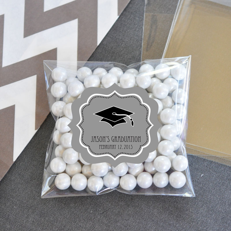 Personalized Graduation Clear Candy Bags (Set of 24) cheap favors