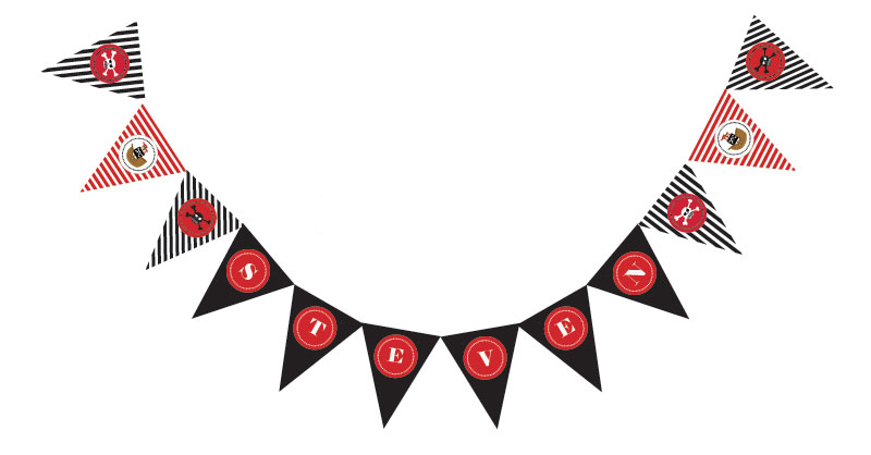 Pirate Party Pennant Banner wedding favors