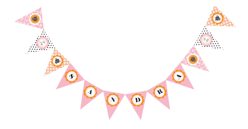 Tea Party Pennant Banner wedding favors