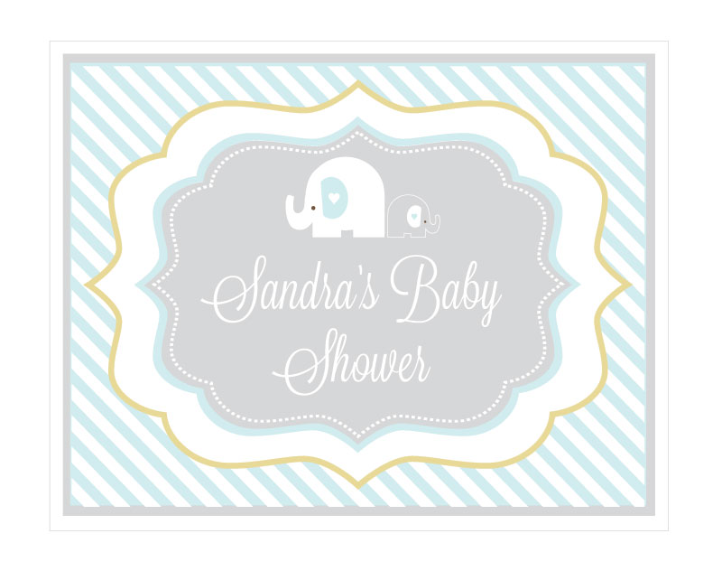 Blue Elephant Party Sign wedding favors