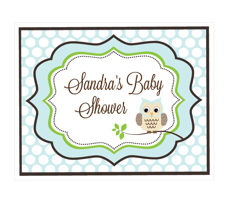 Blue Owl Party Sign wedding favors