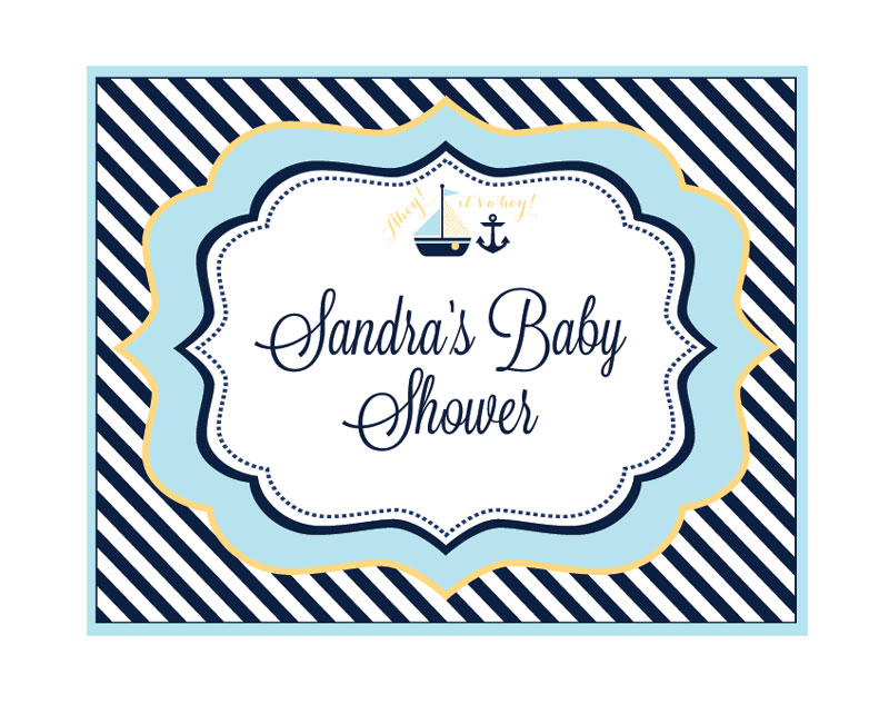 Nautical Baby Shower Party Sign wedding favors