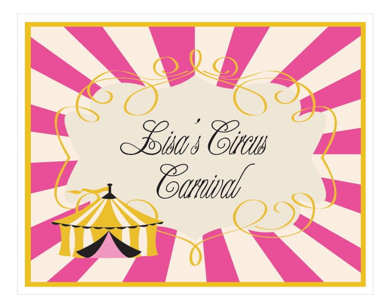 Pink Circus Party Sign wedding favors