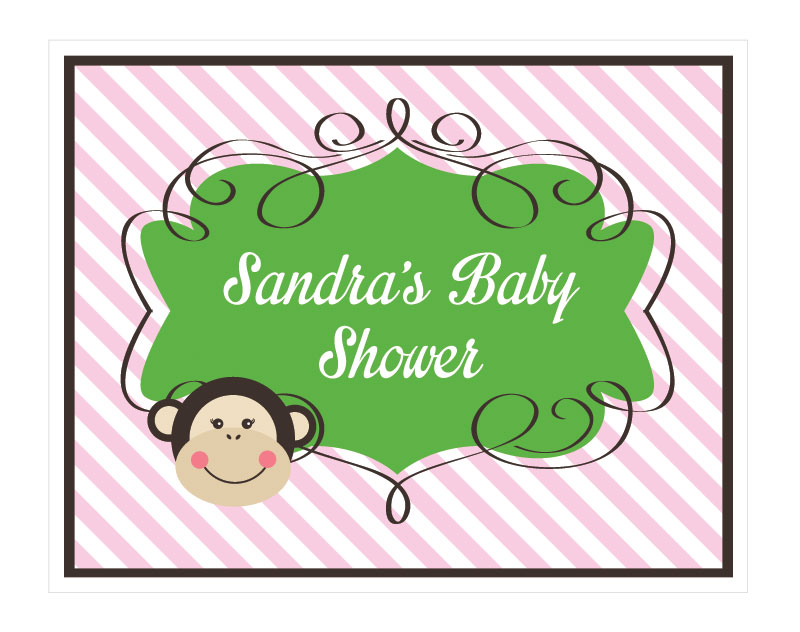Pink Monkey Party Sign wedding favors