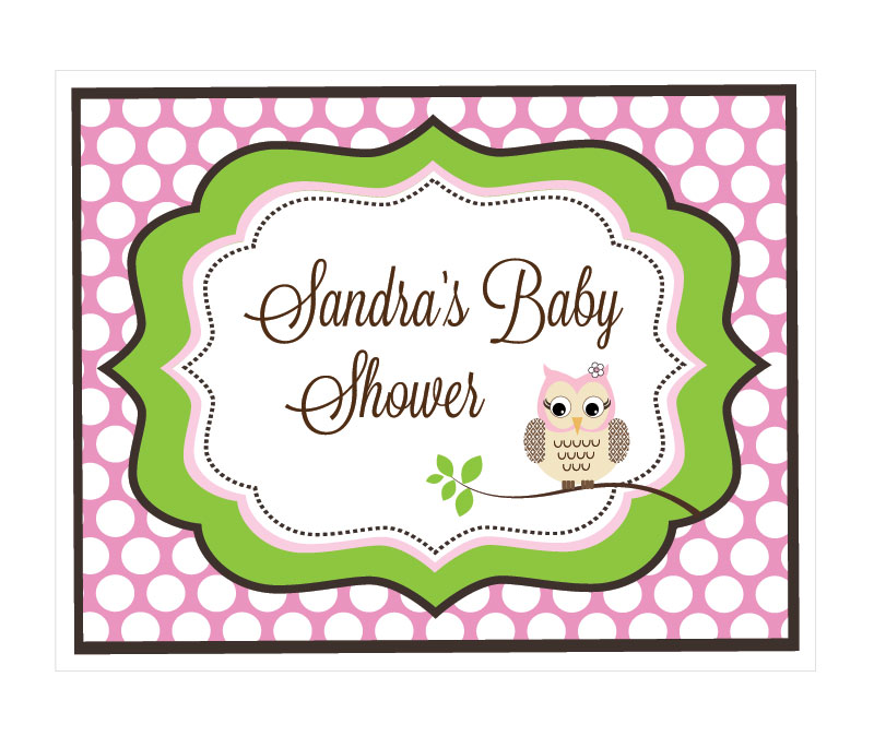 Pink Owl Party Sign wedding favors