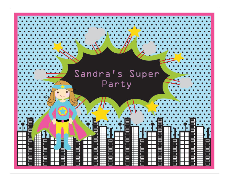 Super Hero Girl Birthday Party Sign wedding favors