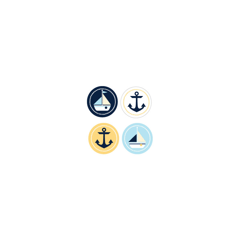 Nautical Baby Shower Decorative Mini Stickers (Set of 32) wedding favors