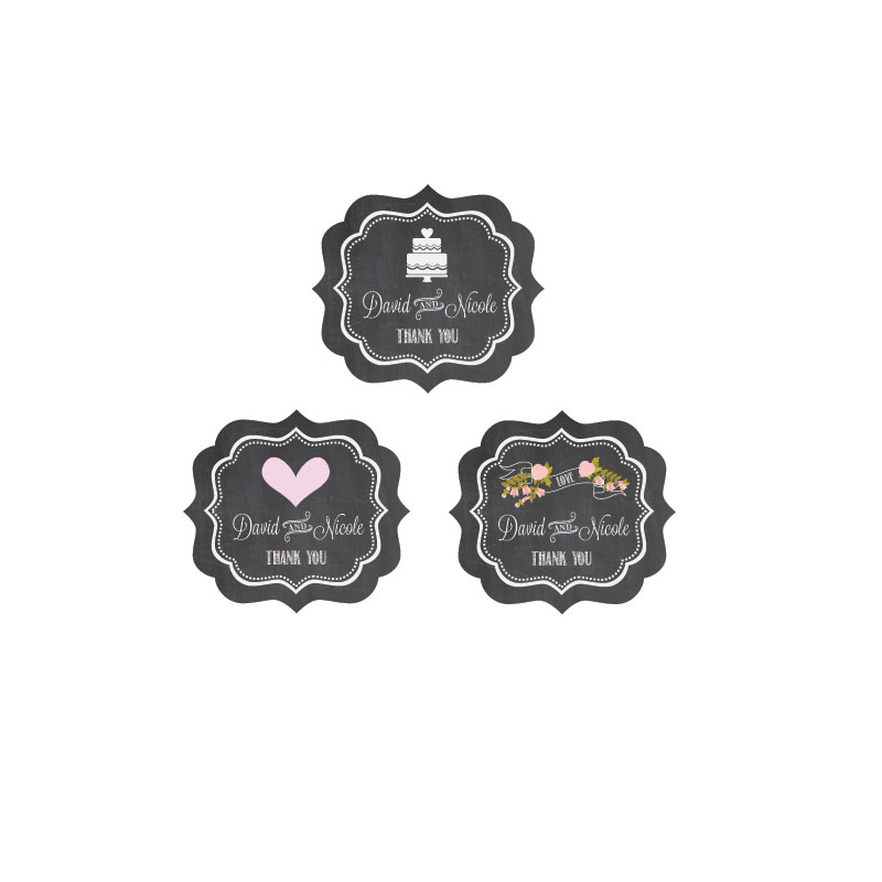 Chalkboard Wedding Personalized Frame Labels cheap favors