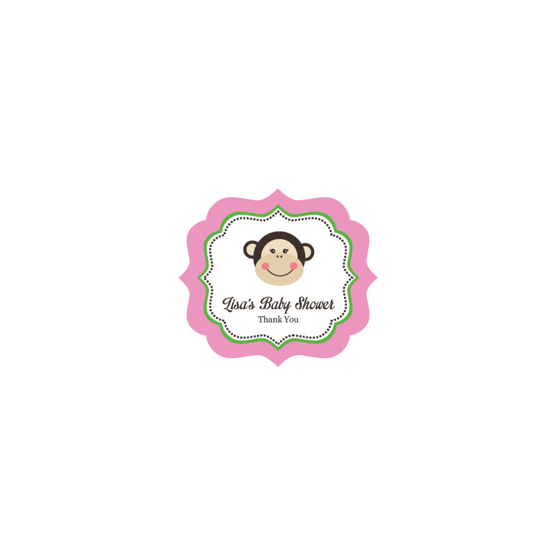Pink Monkey Party Frame Personalized Labels  wedding favors