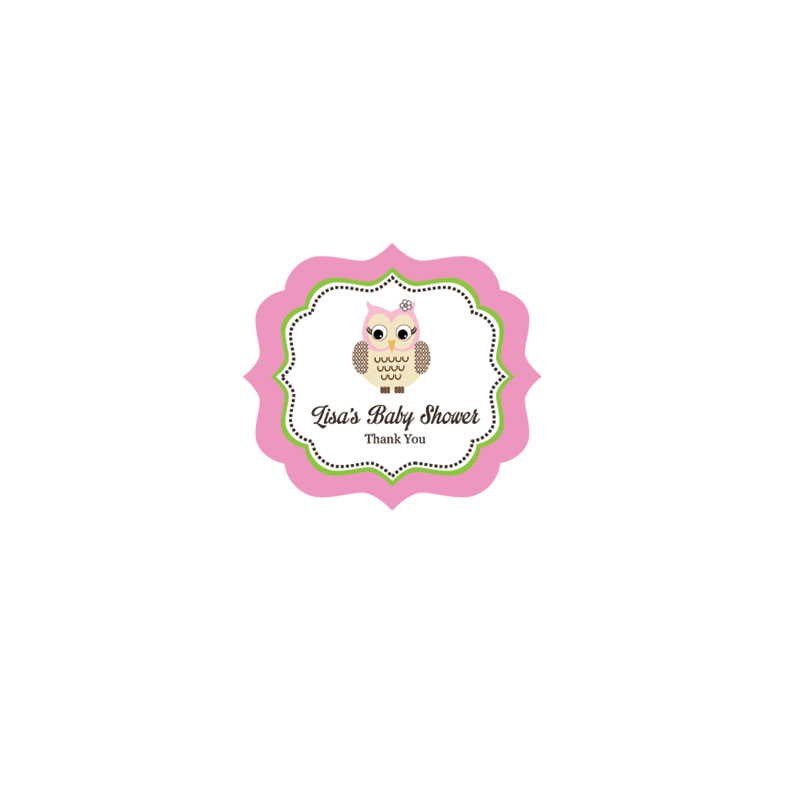 Pink Owl Frame Personalized Labels wedding favors