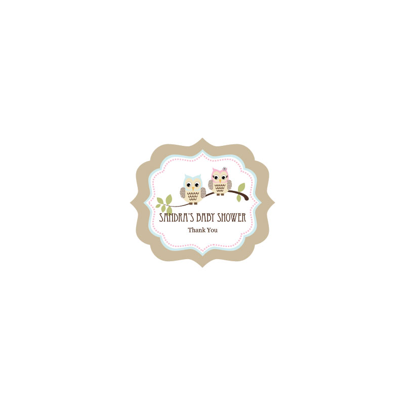 Woodland Owl Frame Personalized Labels wedding favors