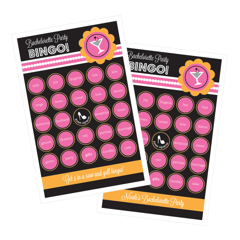 Bachelorette Party Bingo (set of 16) wedding favors
