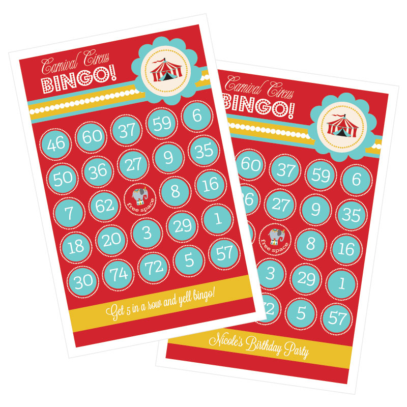 Carnival Circus Party Bingo (set of 16) wedding favors