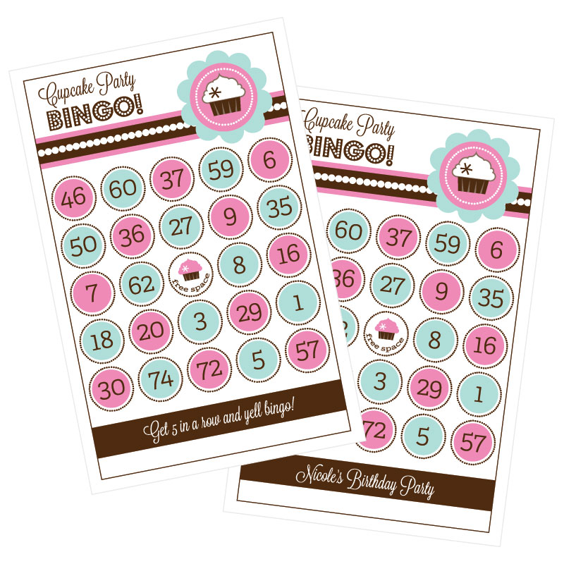 Cupcake Party Bingo (set of 16) wedding favors