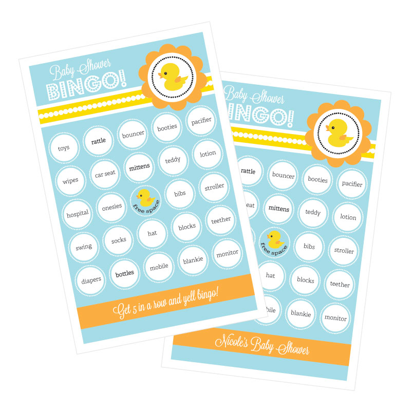 Rubber Ducky Bingo (set of 16) wedding favors