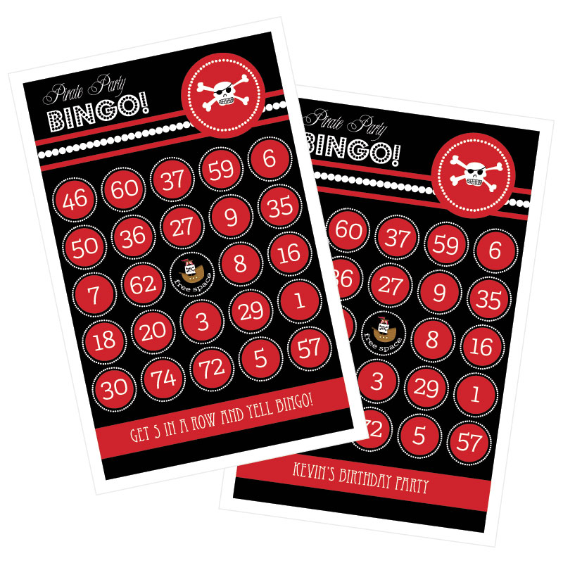 Pirate Party Bingo (set of 16) wedding favors